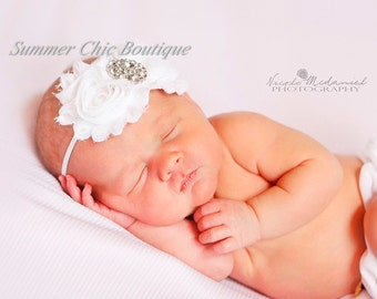 Baby Headband, Infant Headband, Newborn Toddler Headband, White Baby Headband White, Baptism Headband, Christening Headband, White Infant