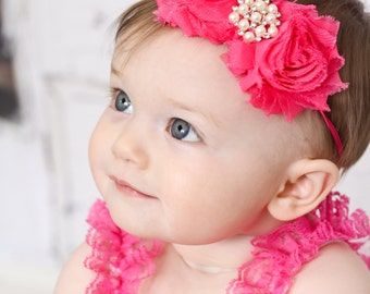 Bright Pink Baby Headband, Infant Headband, Newborn Headband, Girls Headband, Bright Pink Headband , Bright Pink Shabby Chic Headband