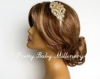 1920s Flapper Gold Bridal Headband, Art deco bridal headpiece, champagne gold prom crystal rhinestone hair accessories bridal headpiece MED