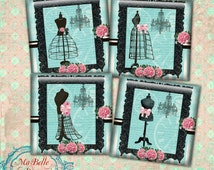 "Coasters 3.8""x 3.8""- INSTANT Digital Download-Pretty Aqua Blue Coasters with Vintage Dress Forms"