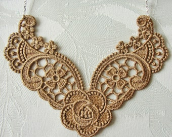 """Cinnamon Floral Lace Pendant Necklace Machine Embroidered 23"""" White/Gold Chain"""