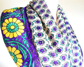 Infinity Scarf, Purple and White Floral Scarf, Silk Scarf, Silk Sari Scarf, Sunflower Scarf