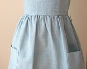 Girls Linen Blend Dress / Jumper in Blue/White Check Woven - sizes 4R, 5 and 6X