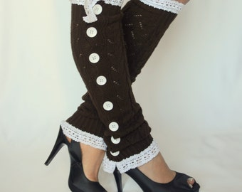 Chocolate brown knit lace slouchy button down lace leg warmers-Boot cuffs-Boot socks-Women's accessory-Choose your color !!! XS-S-M-L-XL