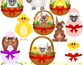 Easter animals clip art set, 10 designs. INSTANT DOWNLOAD for Personal and commercial use.