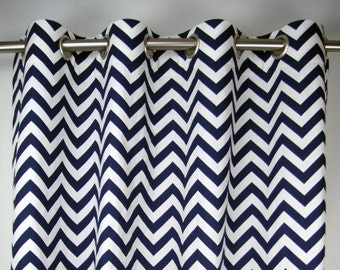 Navy Blue White Zig Zag Modern Chevron Curtains - Grommet - 84 96 108 or 120 Long by 25 or 50 Wide Optional Blackout or Cotton Lining