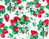 Fabric Delicious Strawberry Summer Berries FLoral Petals Bloom on White Spring For Her Fashion Gift FQ