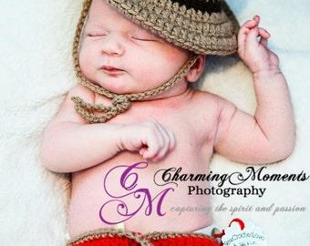 RCMP inspired hat set newborn