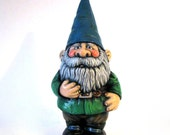 Ceramic Garden Gnome - 14 inches, hand painted lawn or garden gnome with selective gloss finish, outdoor or indoor
