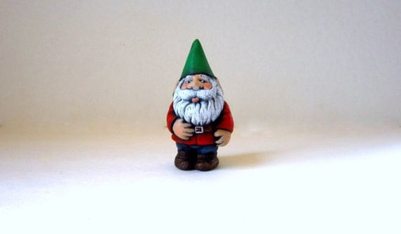 Ceramic Garden Gnome - 4 inches -hand painted for lawn or garden, outdoor or indoor