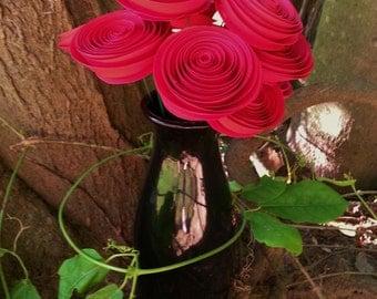 Paper Flower Bouquet - One Dozen Red - Handmade Rolled Paper Flowers for Valentine's Day, Weddings, Anniversaries