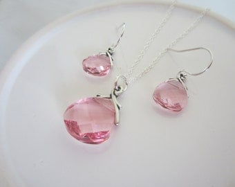 Pink Crystal Bridesmaid Jewelry Set-Pink Bridal Party Jewelry Set-Swarovski Light Rose Pink Crystal Necklace and Earrings