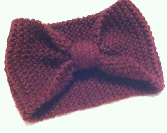 Hand Knit Headband, Turban Headband, Burgundy Headband, hand knit Ear Warmer, Head wrap, Knitted Headband, Womens Accessory