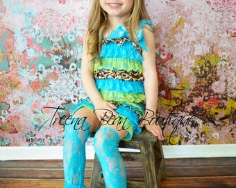 Turquoise Lime Green & Giraffe Lace Petti Romper, Lace Romper, Petti Romper, First Birthday Outfit, Baby Outfit