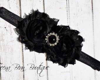 Black Shabby Chic Headband, baby headband, adult headband, infant headband, child headband, newborn headband