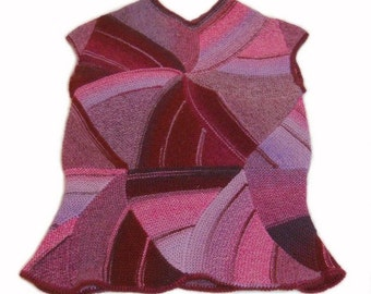 Knit sleeveless pullover - knit vest - knit pullover - knit sweater - gift for women - women knitwear - pink top - purple pullover