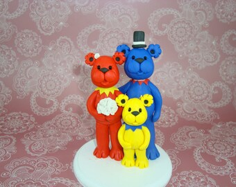 Personalized Grateful Dead Bears Family Cake Topper