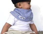 "Modern Bib (Blue Gingham) All in One Scarf & Bib ""Scabib""tm for babies or toddlers"