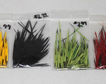 Dyed North American Porcupine Quills, perfect for jewelry, art, and crafts,