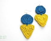 Handmade Electric Blue and Yellow Geometric Thread Wrap Drop Earrings
