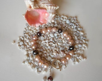 """The """"So Chic"""" Pink and Black Pearl Bracelet - with Sterling Silver"""
