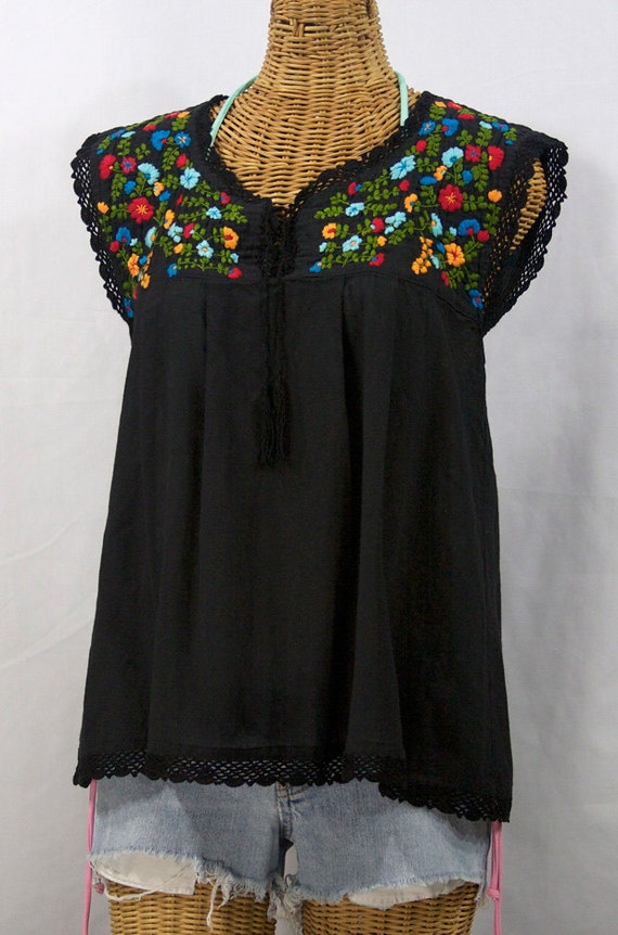 Sleeveless mexican peasant top blouse hand embroidered