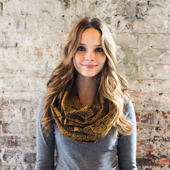 SunBurst Infinity Scarf - Hand block printed, All Natural Vegetable Dyes, 100% Cotton Loop Scarf, Infinity Cowl, Tube Scarf