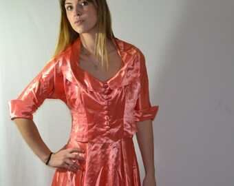 vintage 1930s 30s CORAL pink SATIN old Hollywood Regency Party Gown DRESS n Jacket  m