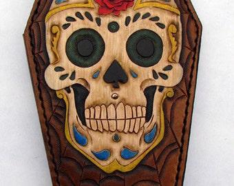 Coffin-shaped wallet: Sugar Skull