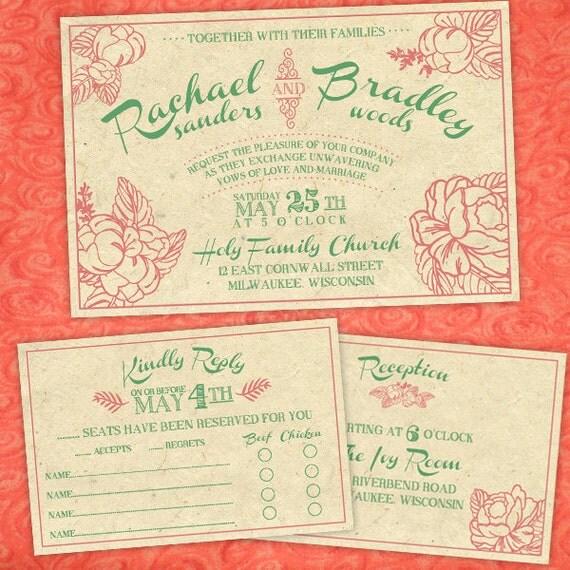 Handmade Vintage Wedding Invitations: Custom Vintage Peony Wedding Invitations