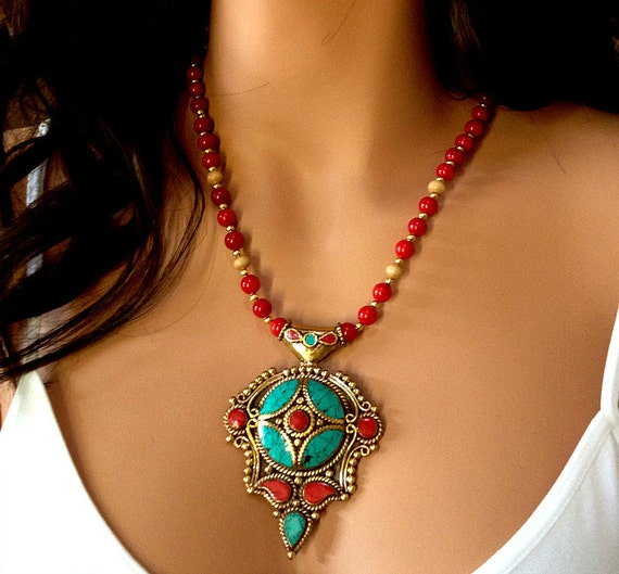 statement necklace nepalese red coral turquoise necklace
