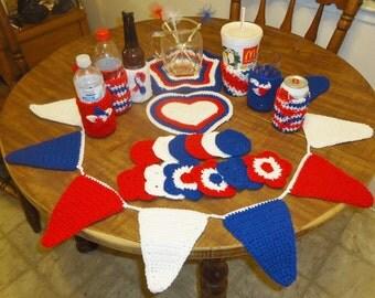 20 Piece Patriotic Handmade Crochet Decorations