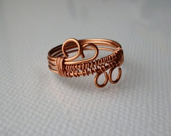 Wire Wrapped Copper Ring, Copper Jewelry