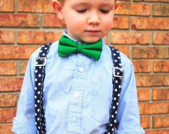 Bow Tie - Newborn, Infant, Toddler, Boy - Emerald Green Duponi Silk