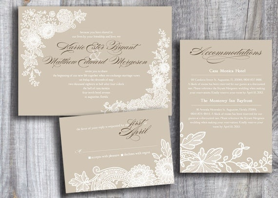 Items Similar To Vintage White Lace Custom Color Printable