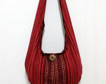 Woven Cotton Bag Hippie bag Hobo Boho bag Shoulder bag Sling bag Messenger bag Tote Crossbody Purse Women bag Handbags Red Long Strap (WF2)