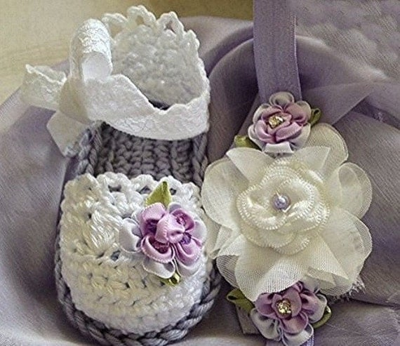 Baby Crochet Sandals  in Lavender and White and Headband