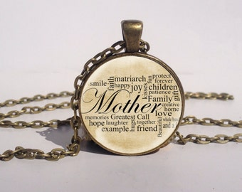 Mothers Day Gift Art Pendant, Words of A Mother Necklace, Gifts for Mom Jewelry, Mothers day Necklace [A1372]