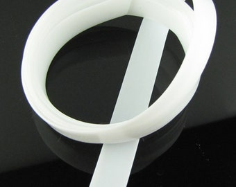 Rubber cord 12mm flat, White, 6 feet