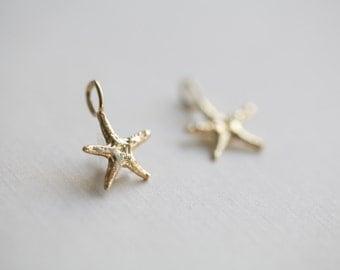 2 Pcs Vermeil Gold Starfish Charms 02 - sea life star fish pendant