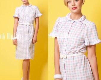 Vintage 60s dress Mad Men Dress Vintage Pink dress gingham dress, house dress - L/XL