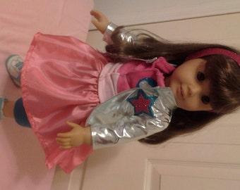 "Kiki Rockstar Jacket 5 pcs Outfit for American Girl 18"" Doll  Fresh Beat Music Band"