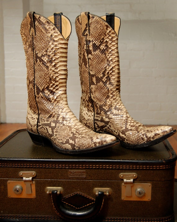 Vintage Snakeskin Cowboy Boots By Expvintage On Etsy