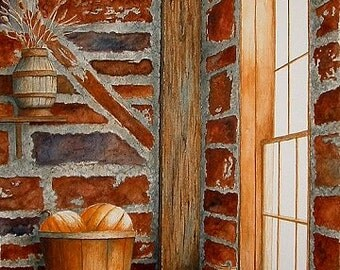 Cellar Life, a giclee print from original watercolor by NC artist Ron Taylor, autumn colors and themes, pumpkins, red cellar brick & apples