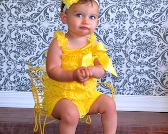 Yellow Baby Headband, Girl Headband, Lace Headband, Baby girl Headband, newborn headband, vintage headband toddler fabric headband