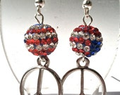usa, red, white and blue for peace silver and crystal polymer clay dangle earrings