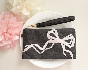 Wristlet, Clutch, Cosmetic Pouch,  Smartphone Clutch,  Zipper Pouch , Ribbon Embroidery, Wool,  Smartphone