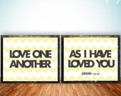 Bible Verse printable, scripture print art wall decor poster, typography, John 13:34 love one another, digital Printable Wisdom