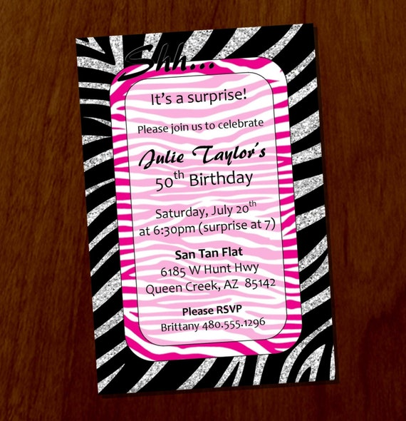 silver & pink zebra stripe surprise party printable or digital, Birthday invitations