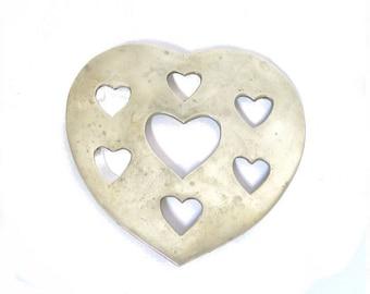 Vintage Heart Brass Trivet, Gold Heart Shaped Hot Plate, Brass Table Trivet